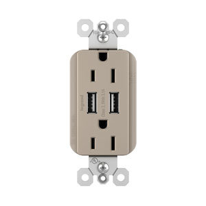Nickel USB Chargers with Duplex 15A Tamper-Resistant Outlets