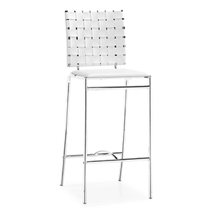 Criss Cross White and Chromed Steel Counter Chair, Set of Two