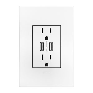 Dual USB, Plus Size Combo Outlet and White Wall Plate Bundle
