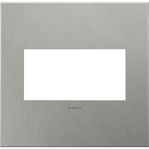 Brushed Stainless Cast Metal Steel 2-Gang Wall Plate