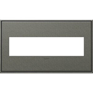 Brushed Pewter Cast Metal 4-Gang Wall Plate