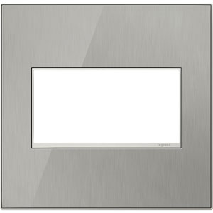 Brushed Stainless Real Materials 2-Gang Wall Plate