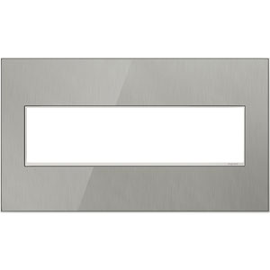 Brushed Stainless Real Materials 4-Gang Wall Plate