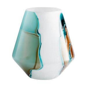 Green and White Wide Ferdinand Vase