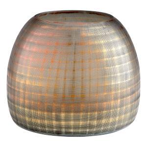 Combed Iridescent Gold Gradient Grid Vase