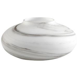 White and Black Swirl 14-Inch Moon Mist Vase