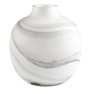 White and Black Swirl 11-Inch Moon Mist Vase
