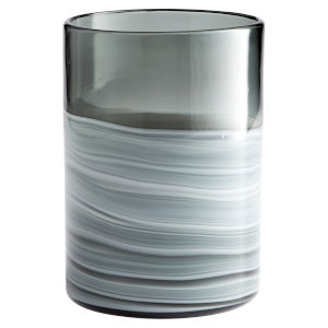 White and Silver 8-Inch Torrent Vase