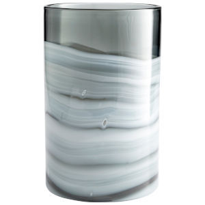 White and Silver 9-Inch Torrent Vase