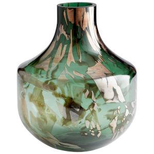 Green and Gold 11-Inch Maisha Vase