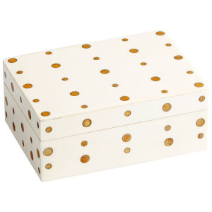 White and Brass 8-Inch Dot Crown Container