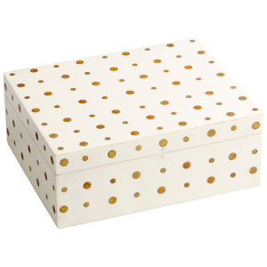 White and Brass 11-Inch Dot Crown Container