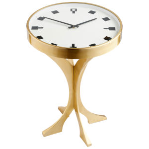 Aged Brass Timetable Side Table with Clock