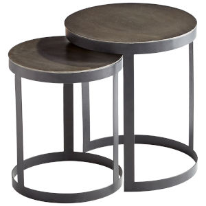 Silver and Black Monocroma Side Table, 2 Piece