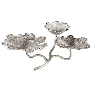 Silver Flowers and Flames Candle Holder