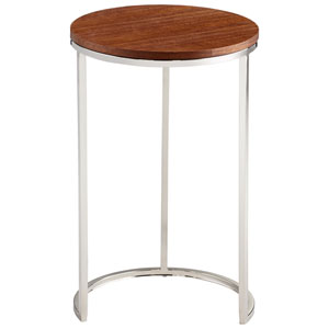 Oak and Stainless Steel Azucar Side Table