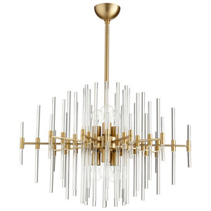 Quebec Six-Light 30.5 In. Wide Aged Brass Pendant