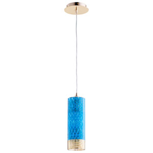 Kaska One-Light Blue and Gold 15 In. Pendant