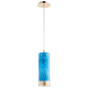 Kaska One-Light Blue and Gold 17 In. Pendant
