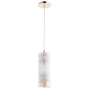 Kaska One-Light White and Gold 17 In. Pendant