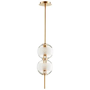 Peloton Aged Brass Two-Light LED Mini Pendant