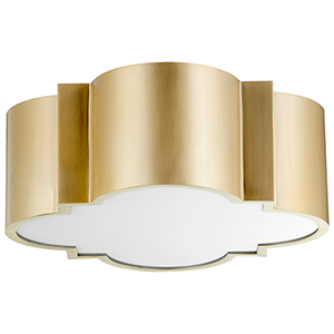 Wyatt Aged Brass Two-Light Flush Mount