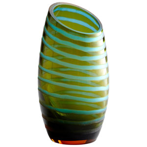 Cyan Blue and Orange Large Angle Cut Etched Vase