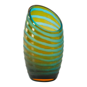 Cyan Blue and Orange Small Angle Cut Etched Vase