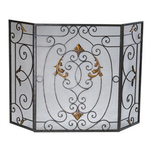 Rust French Fire Screen with Gold Accents