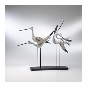 Weathered White and Gray Sandpiper Quartet Sculpture