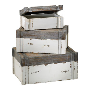 Alder Distressed White and Gray Box, Set of Three