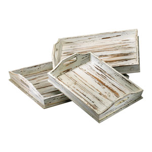 Distressed White Rectangular Tray, Set of Three