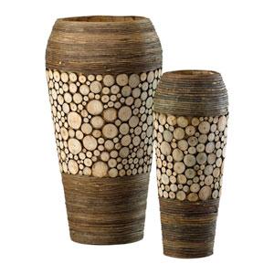 Birchwood and Walnut Slice Oblong Vases