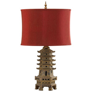 Pagoda Antique Gold One-Light Table Lamp