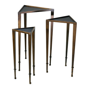 Ebony and Mahogany Triangle Nesting Tables