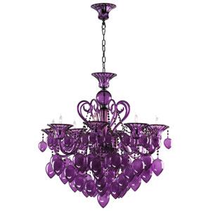 Bella Vetro Purple Eight-Light Chandelier