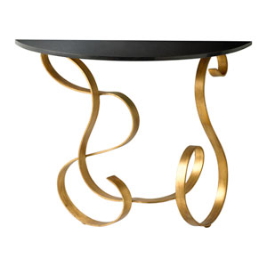 Black and Gold Ribbon Console Table
