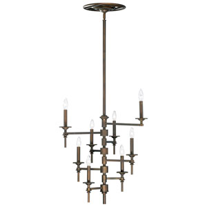 Omega Oiled Bronze Eight-Light Chandelier