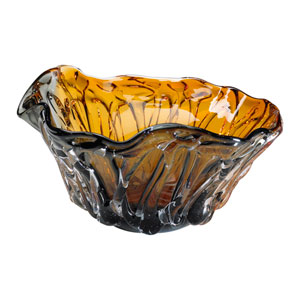 Duo Amber and Smoked Art Glass Bowl