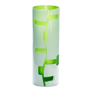 Danish White and Green Vase