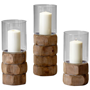 Natural Wood Small Hex Nut Candleholder Only