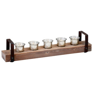 Clifton Raw Iron and Natural Wood Candleholder
