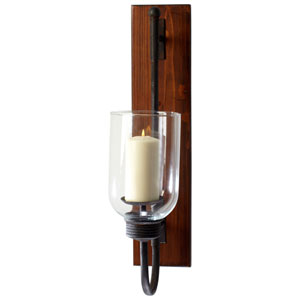 Sydney Raw Iron and Natural Wood Candleholder