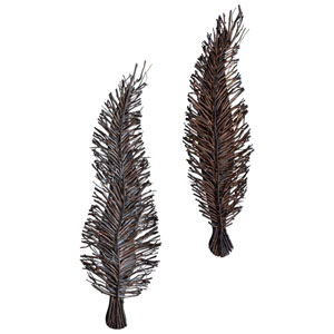 Leeky Leaf Brown Wall Decor Only