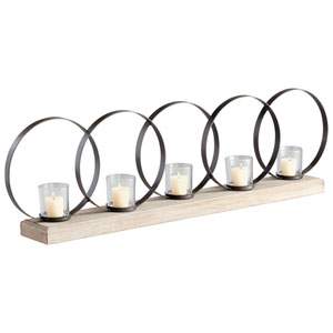 Ohhh Raw Iron and Natural Wood Five-Candle Candleholder