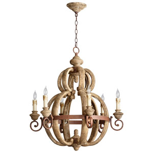 Atocha Sutherland Buff and Rust Six-Light Chandelier