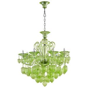 Bella Vetro Green Eight-Light Chandelier
