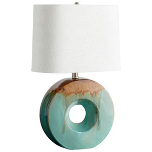 Blue Glaze and Brown Oh Table One-Light Table Lamp
