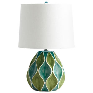 Glenwick Green and White One-Light Table Lamp