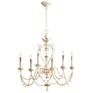 Persian White and Mystic Silver Six-Light Chandelier